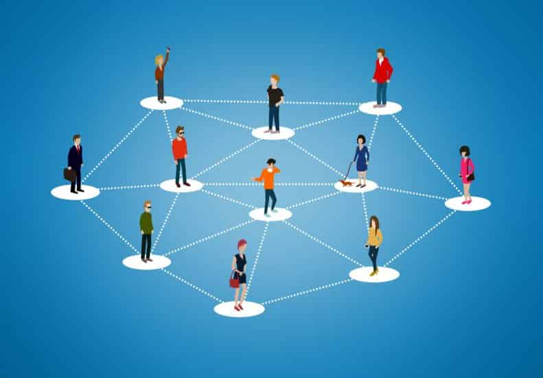 The social network - People networking and creating bonds, contacts