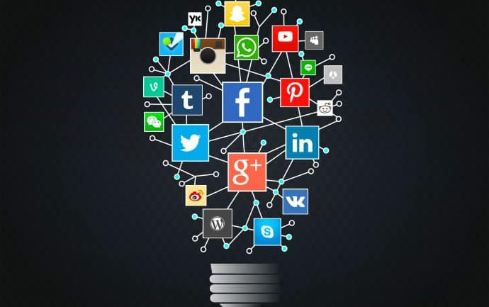 Going Social Concept - Networks Idea with Lightbulb