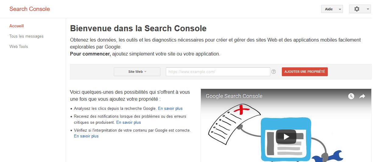 ajout d'un site web sur la search console