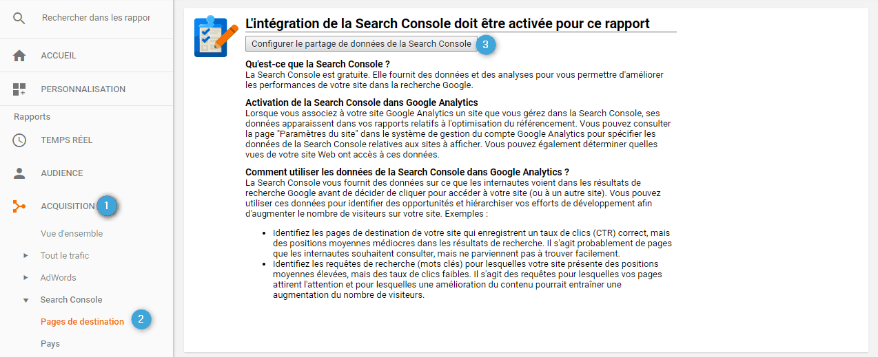 Association des comptes Google Analytis et Search Console