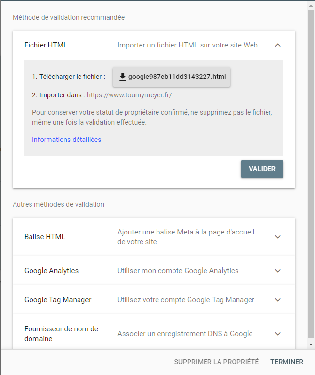 Validation Google Search Console