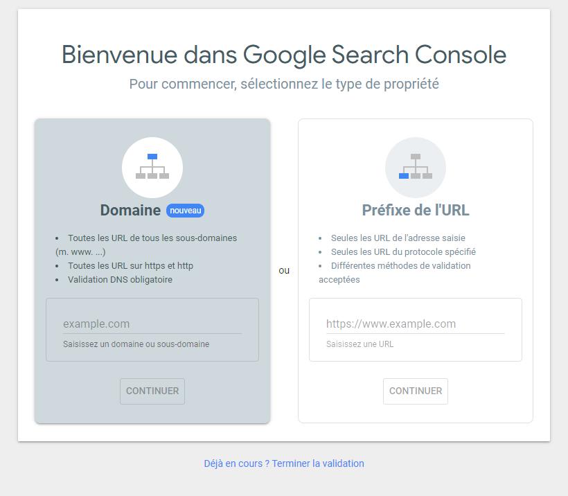 Inscription Google Search Console