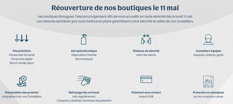 Communication Bouygues Telecom sur les mesures barrières COVID en magasin