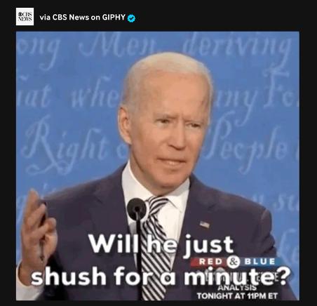 Joe Biden s'énervant contre Donald Trump.